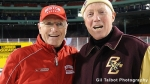 With BC coach Jerry York before their game at Fenway Park in January 2010