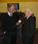 Parker with sportscaster Mike Dowling in one of many TV interviews