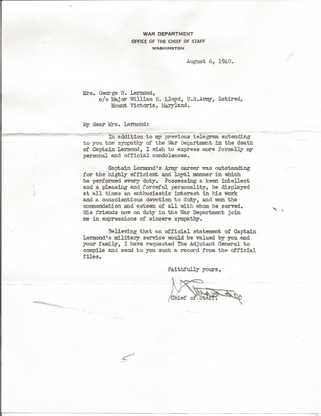 1940 Letter of Condolence from General George C. Marshall, U.S. Army Chief of Staff