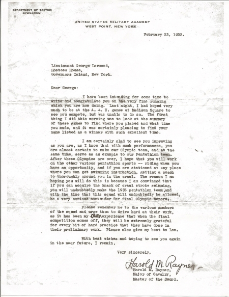 1932 Letter from Major Harold Rayner, Major of Cavalry and Master of the Sword