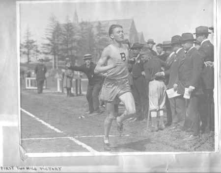 Winning the two-mile run at Boston College