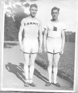 George in West Point track uniform, brother Leo in BAA gear
