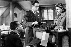 "Dooley Wilson as Sam, Humphrey Bogart as Rick, and Ingrid Bergman as Ilsa in ""Casablanca"""