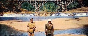 "Alec Guinness and Sessue Hayakawa in ""Bridge on the River Kwai,"" the movie that introduced a generation of Americans to ""The Colonel Bogey March."""