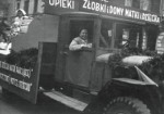 Irena Sendler and the truck she used to smuggle about 2,500 Jewish children out of the Warsaw ghetto