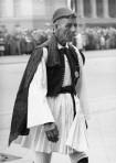 Spiridon Louis, the Greek shepherd boy who won the marathon race at the 1896 Athens Olympics, leads the Greek team into stadium at Berlin in 1936.