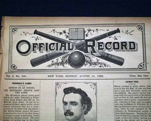 August, 1886 Media Coverage of Lip Pike and His Baseball Exploits. Newspaper Price: One Cent.