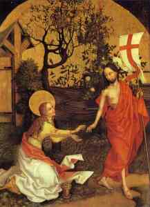 The resurrected Jesus meets with his redhead disciple Mary Magdelene.