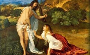 Titian's painting of Mary Magdalen witnessing the resurrection of Jesus.