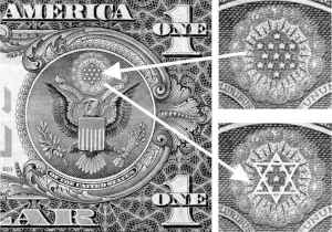 """Star of David"" configuration on dollar bill."